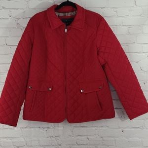 Giacca Red Quilted Jacket with Plaid Accent SZ XL